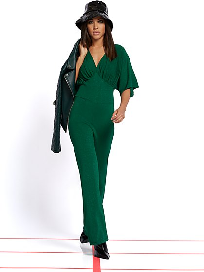 Petite Green Metallic Sweater Jumpsuit - New York & Company