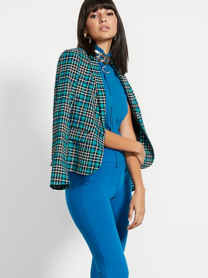 Petite Green Plaid One-Button Jacket - 7th Avenue - New York & Company