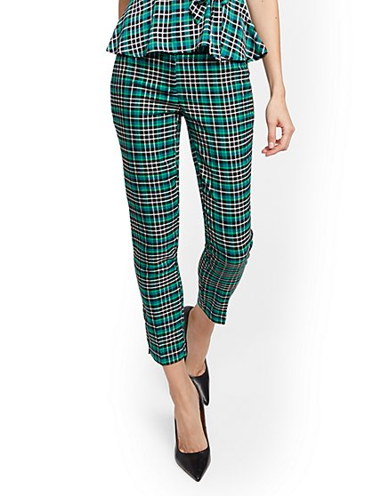 Petite Green Plaid Slim Ankle Pant - Modern - 7th Avenue - New York & Company