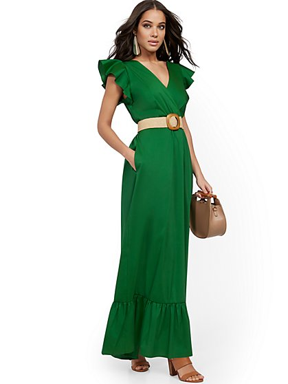 Petite Green Ruffle-Sleeve Poplin Maxi Dress - New York & Company