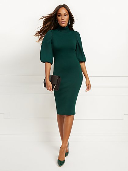 Petite Green Twofer Sweater Sheath Dress - New York & Company