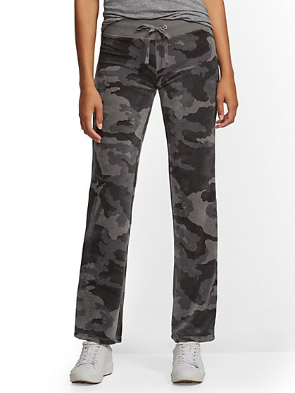 Petite Grey Camo-Print Velour Straight-Leg Pant - New York & Company