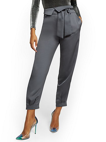 Petite Grey Foldover Slim Ankle Pant - 7th Avenue - New York & Company