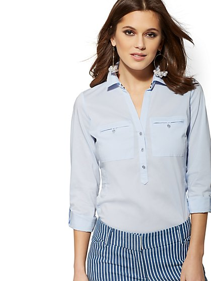Petite Grosgrain-Trim Popover Madison Stretch Shirt - 7th Avenue - New York & Company