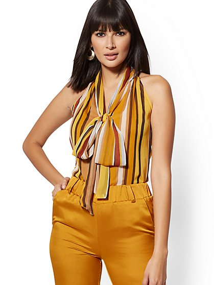 Petite Halter Bow Blouse - New York & Company
