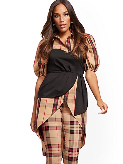Petite High-Low Poplin Top - New York & Company