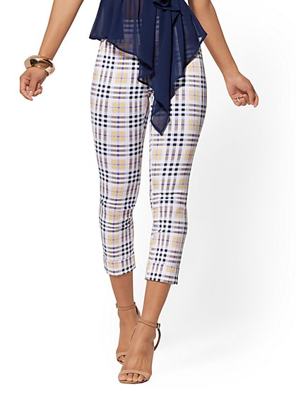 Petite High-Waist Pull-On Crop Pant - Plaid - New York & Company