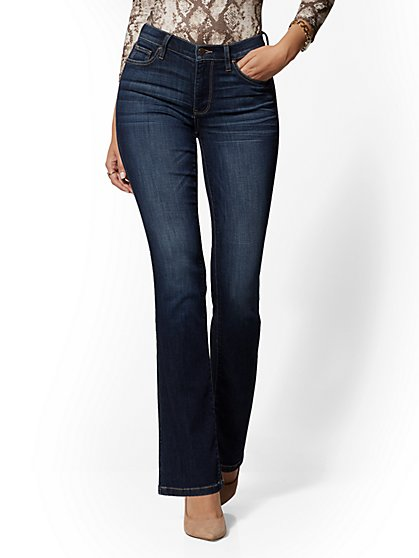 Petite High-Waisted Barely Bootcut Jeans - Deep End Blue - New York & Company