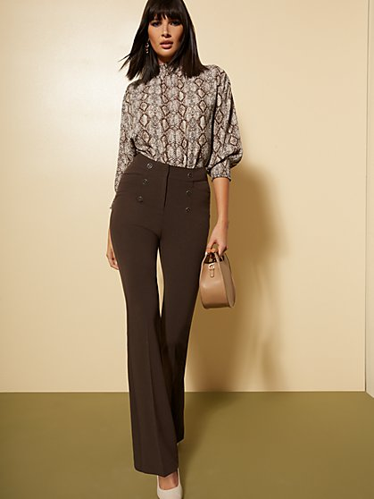 Petite High-Waisted Bootcut Pant - Button Accent - Double Stretch - 7th Avenue - New York & Company
