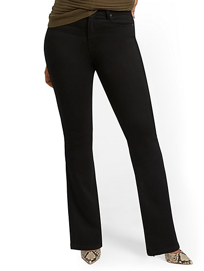 Petite High-Waisted Curvy Barely Bootcut Jeans - Black - New York & Company