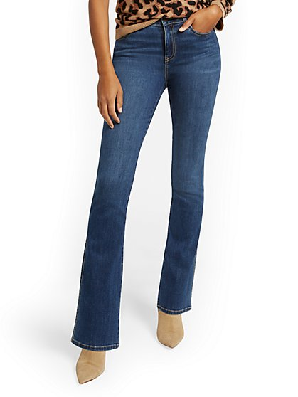 Petite High-Waisted Curvy Barely Bootcut Jeans - Brilliant Blue - New York & Company