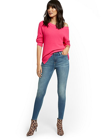 Petite High-Waisted Curvy Skinny Jeans - Vibrant Blue - New York & Company