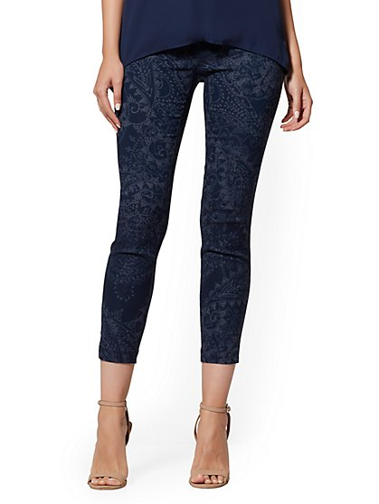 Petite High-Waisted Pull-On Ankle Pant - Navy Paisley - New York & Company