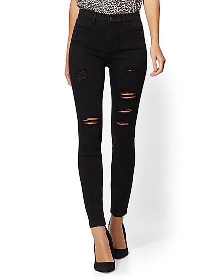 Petite High-Waisted Super-Skinny Jeans - Black - New York & Company