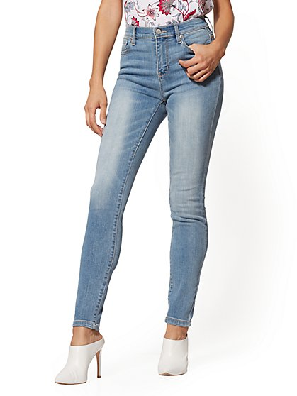 Petite High-Waisted Super- Skinny Jeans - Blue Splash - New York & Company