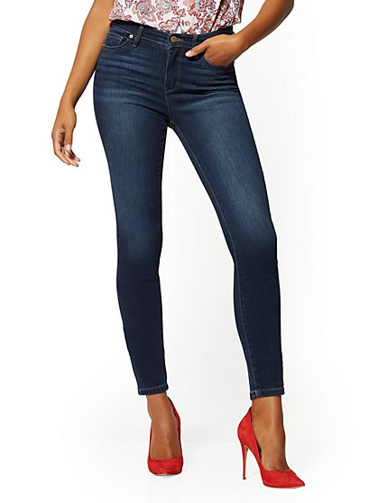 Petite High-Waisted Super- Skinny Jeans - Blueberry - New York & Company