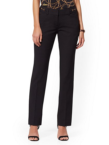 Petite Horsebit-Accent Straight-Leg Pant - Signature - 7th Avenue - New York & Company