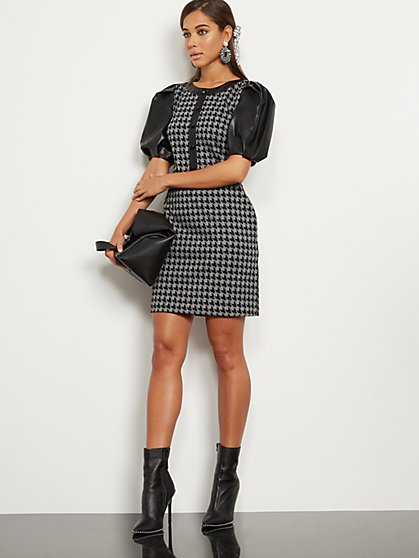 Petite Houndstooth Faux Leather-Trim Sheath Dress - New York & Company