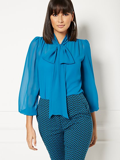 Petite Isabella Bow Blouse - Eva Mendes Collection - New York & Company