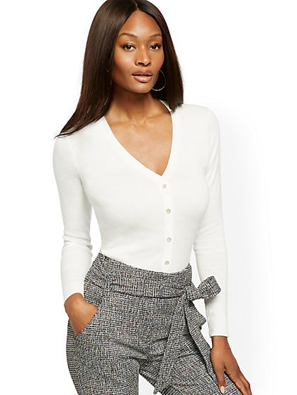 Petite Jeweled-Button V-Neck Chelsea Cardigan - 7th Avenue - New York & Company