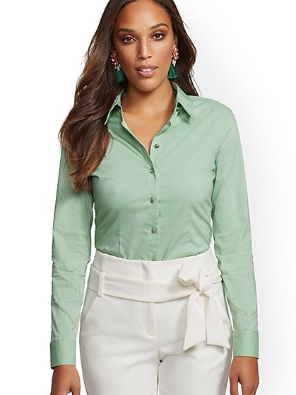 Petite Jeweled Madison Stretch Shirt - 7th Avenue - New York & Company
