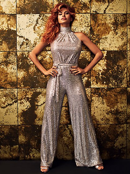 Petite Kit Sequin Halter Jumpsuit - Eva Mendes Collection - New York & Company