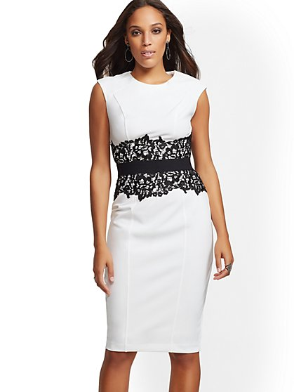 Petite Lace-Accent Sheath Dress - New York & Company