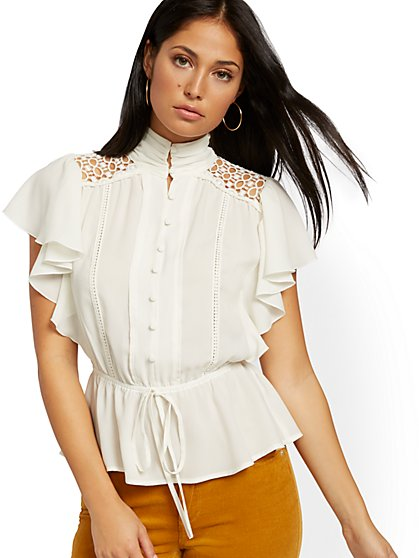 Petite Lace-Inset Flutter-Sleeve Blouse - New York & Company