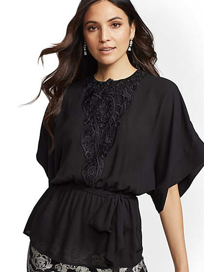 Petite Lace-Trim Kimono Peplum Top - 7th Avenue - New York & Company