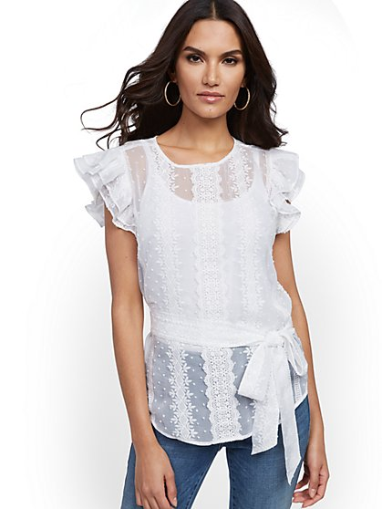 Petite Lace-Trim Ruffle Top - Lily & Cali - New York & Company