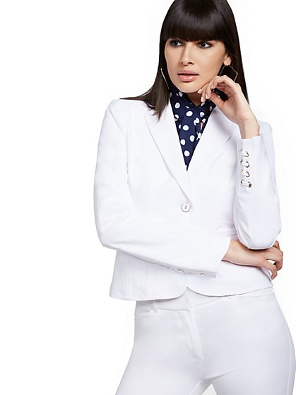Petite Lace-Up Cuff Two-Button Jacket - All-Season Stretch - 7th Avenue - New York & Company