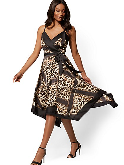 Petite Leopard & Chain-Print Wrap Maxi Dress - New York & Company