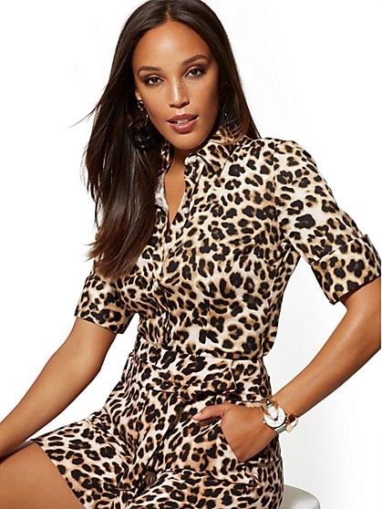 Petite Leopard-Print Madison Stretch Shirt - New York & Company