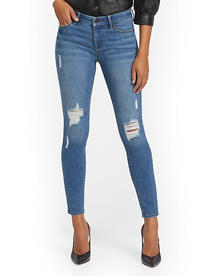 Petite Lexi Mid-Rise Destroyed Super-Skinny Jeans - Fetching Wash - New York & Company