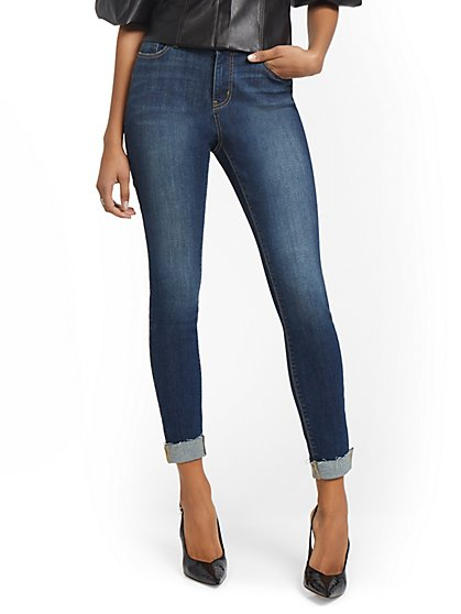 Petite Lexi Mid-Rise Super-Skinny Jeans - Foxy Blue - New York & Company