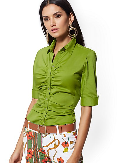Petite Lime Green Madison Stretch Shirt - 7th Avenue - New York & Company