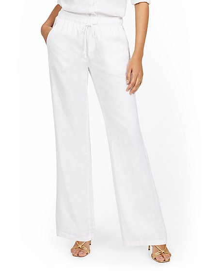 Petite Linen-Blend High-Waisted Drawstring Pant - New York & Company