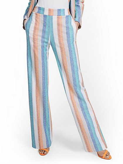 Petite Linen-Blend High-Waisted Multistripe Wide-Leg Pant - New York & Company