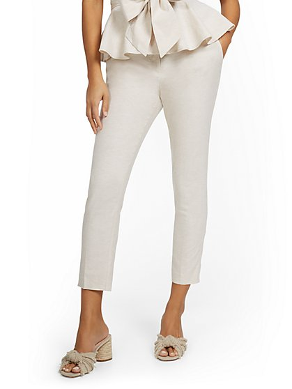 Petite Linen-Blend High-Waisted O-Ring Belt Ankle Pant - New York & Company