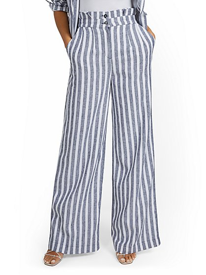 Petite Linen-Blend Nautical Stripe Paperbag Wide-Leg Pant - New York & Company