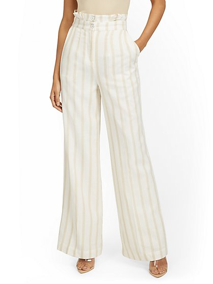 Petite Linen-Blend Stripe Paperbag Wide-Leg Pant - New York & Company
