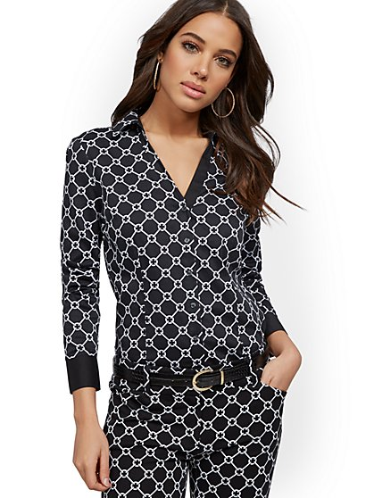 Petite Link-Print Madison Stretch Shirt - Secret Snap - 7th Avenue - New York & Company
