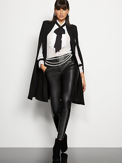 Petite Madie Pant - Black Faux Leather - 7th Avenue - New York & Company