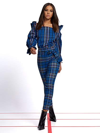 Petite Madie Pant - Tartan Print - 7th Avenue - New York & Company