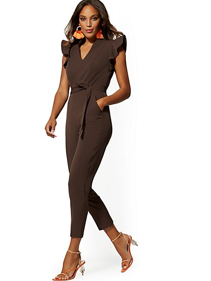 Petite Madie Ruffled-Shoulder Jumpsuit - 7th Avenue - New York & Company