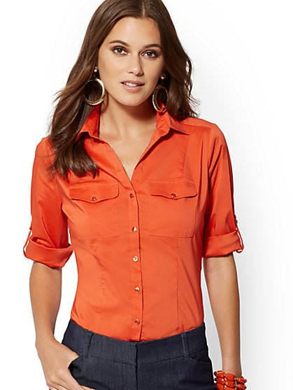 Petite Madison Flap-Pocket Stretch Shirt - 7th Avenue - New York & Company