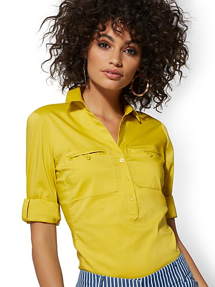 Petite Madison Popover Stretch Shirt - 7th Avenue - New York & Company