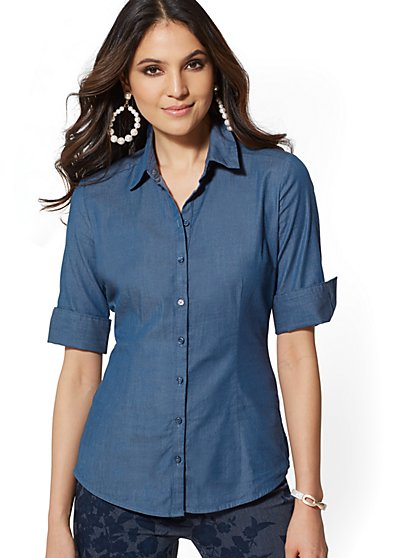 Petite Madison Stretch Shirt Chambray - New York & Company