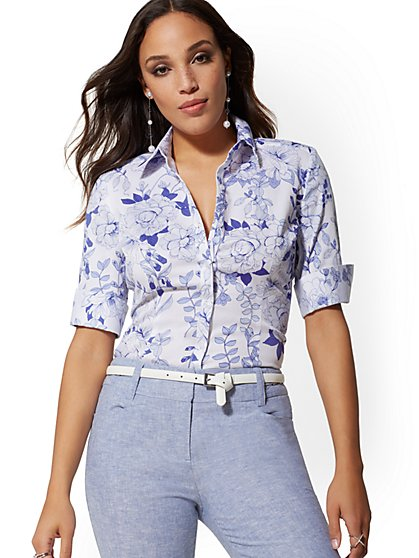 Petite Madison Stretch Shirt - Floral - New York & Company