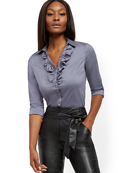 Petite Madison Stretch Shirt - Ruffled - Secret Snap - 7th Avenue - New York & Company